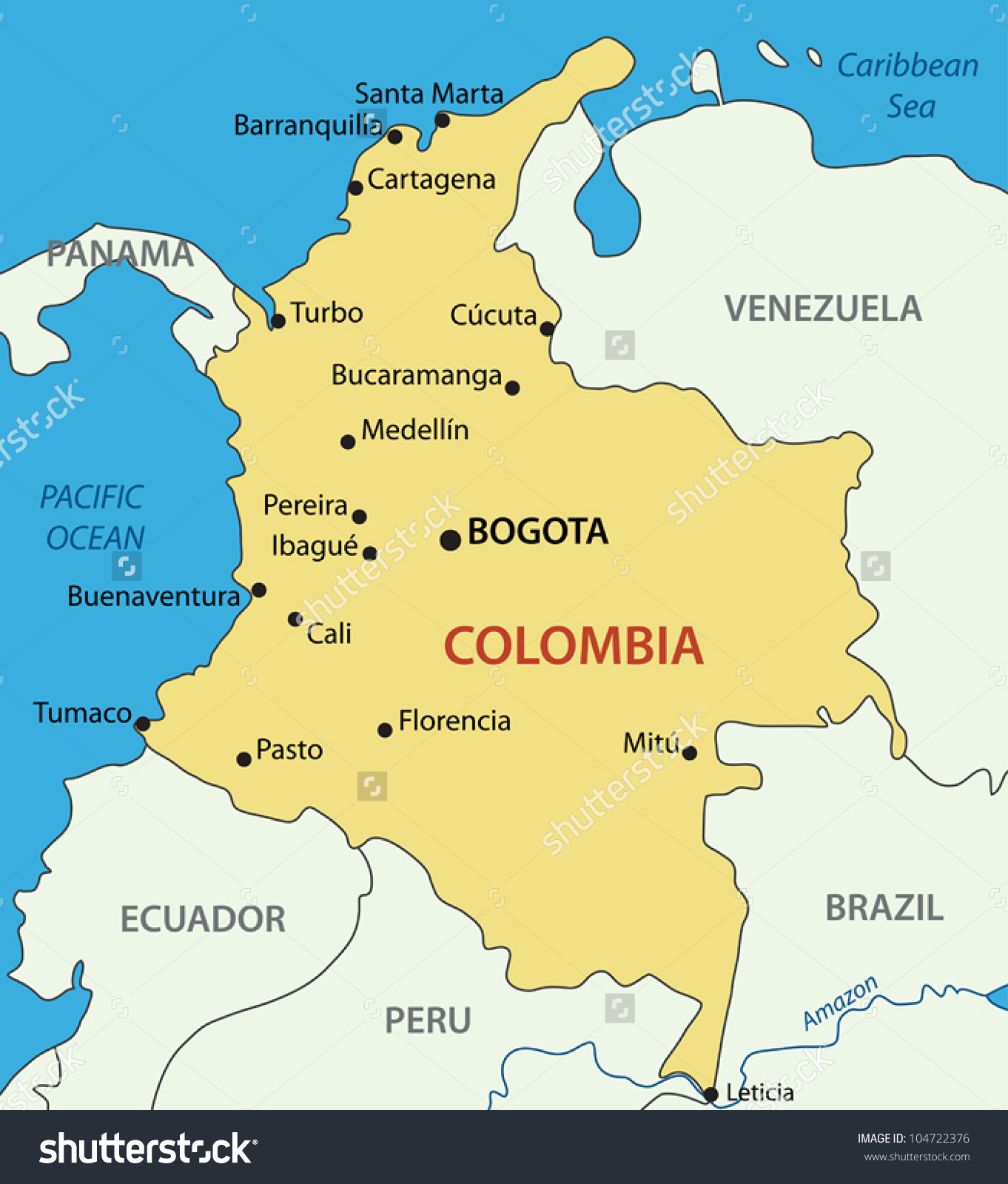 Republic Colombia Vector Map Stock Vector 104722376.