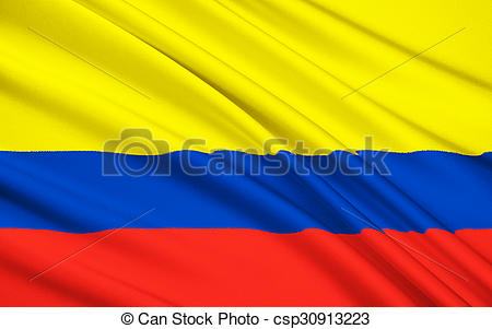 Clip Art of Flag of Republic of Colombia, Santa Fe de Bogota.