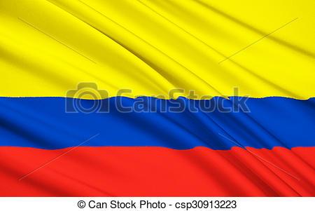 Clip Art of Flag of Republic of Colombia, Santa Fe de Bogota.