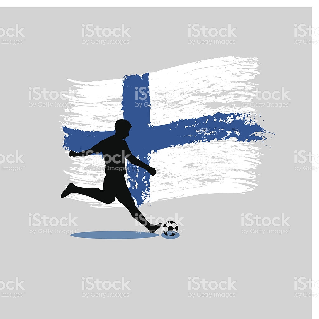 Soccer Player Action With Republic Of Finland Flag On Background.