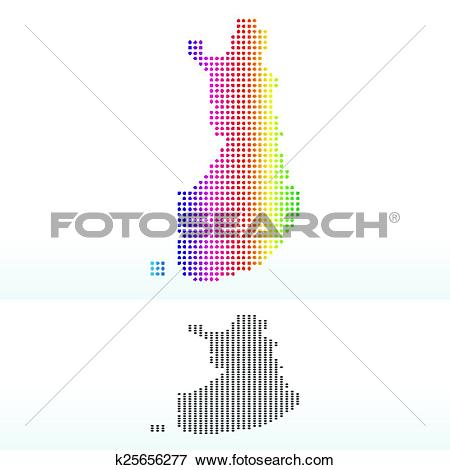 Clip Art of Map of Republic of Finland with Dot Pattern k25656277.