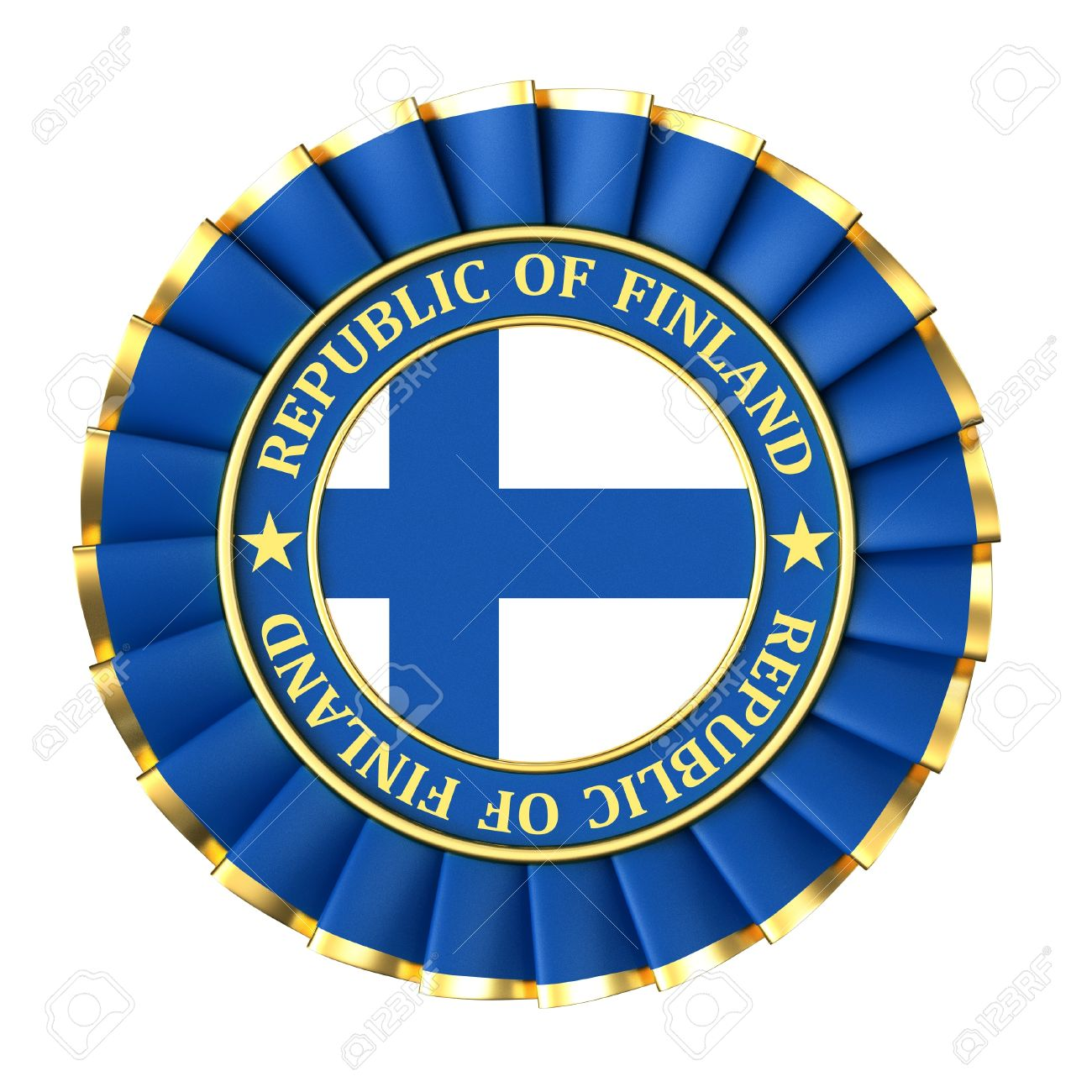 Ribbon Award With The Symbols Of Republic Of Finland Stock Photo.