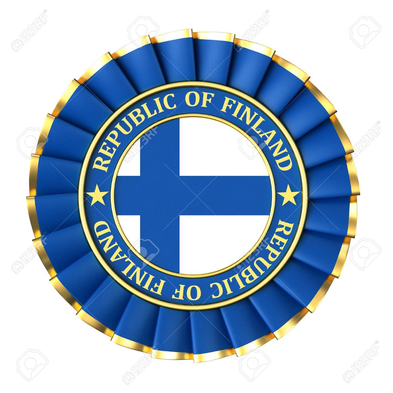 Ribbon Award With The Symbols Of Republic Of Finland Stock Photo.