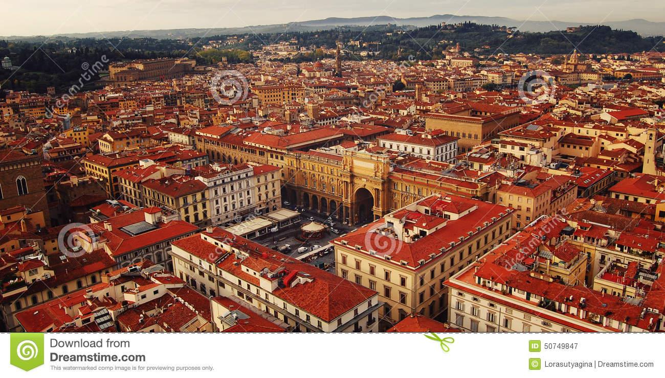 Piazza Della Repubblica (Republic Square) Aerial View. Florence.