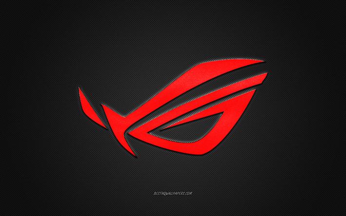 Download wallpapers ROG logo, red shiny logo, ROG metal.