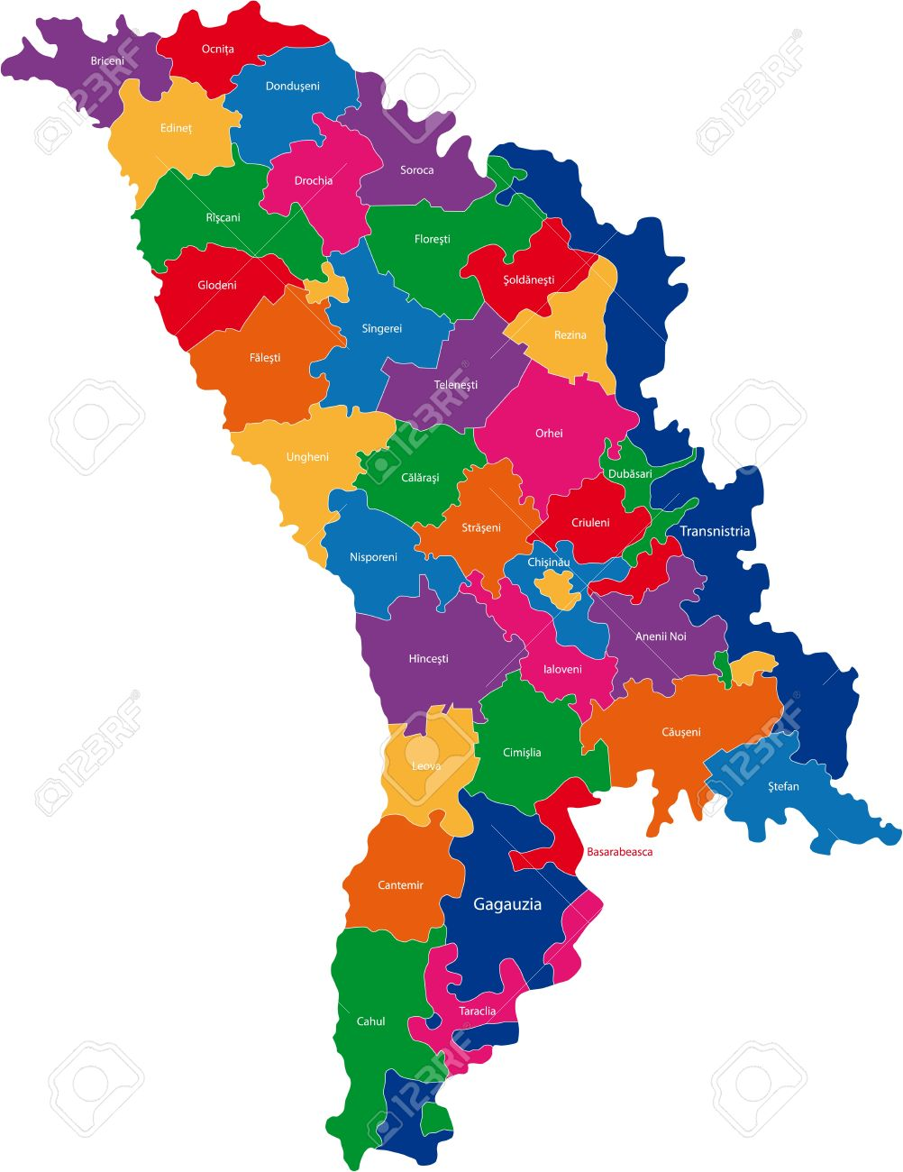 Map Of Administrative Divisions Of Republic Of Moldova Royalty.