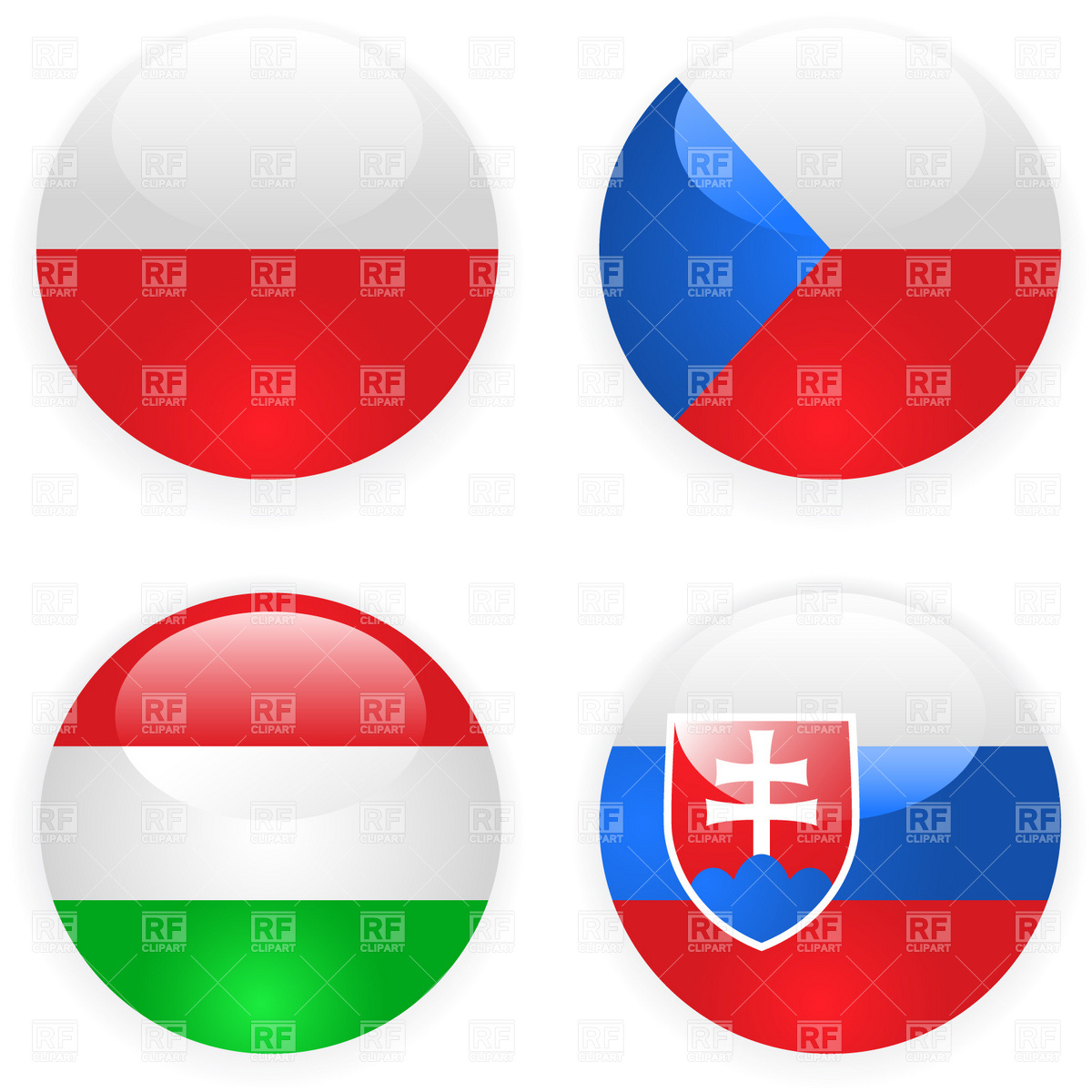 Czech, Slovakia, Poland and Hungary button flags Vector Image.