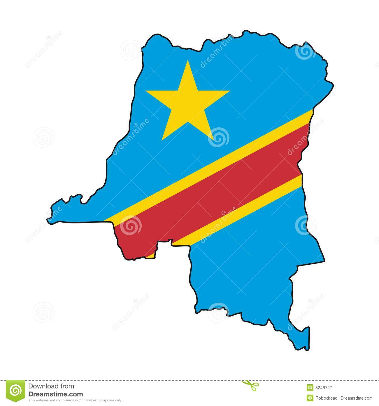 Congo republic of the flag clipart.