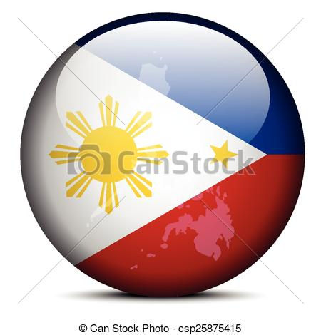 Vector Clip Art of Map on flag button of Republic the Philippines.