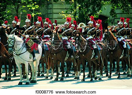 Stock Images of France, Paris, The Republican Guard on Bastille.