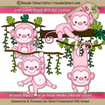 Jungle Monkey Girl Pink by Resale Clipart.