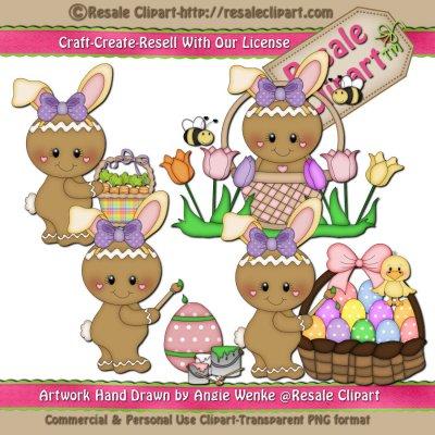 Ginger Bunnies Girls Clipart & digi sets.