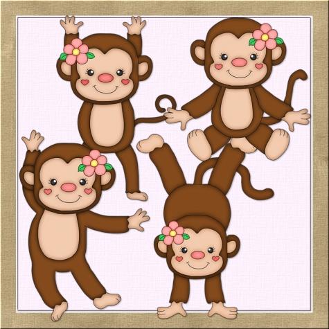 Monkeys Girls Clip Art Graphics by Resale Clipart.