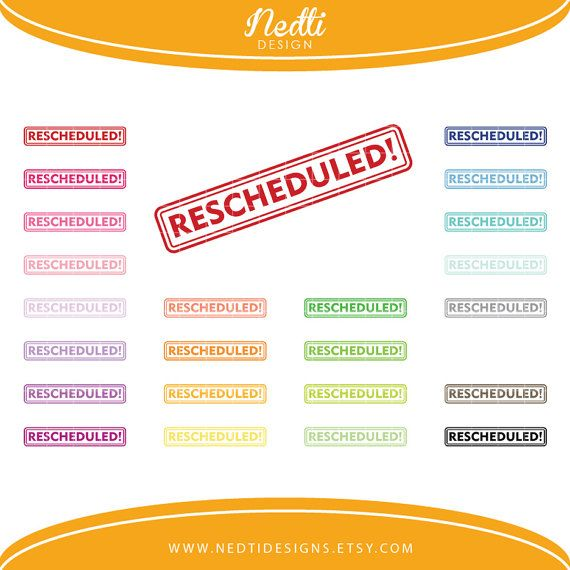24 Rescheduled Clipart Set Colorful Rainbow Clip by.