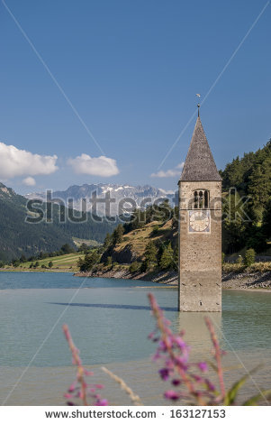 Reschensee, The Lake Is Famous For The Steeple Of A Submerged 14th.