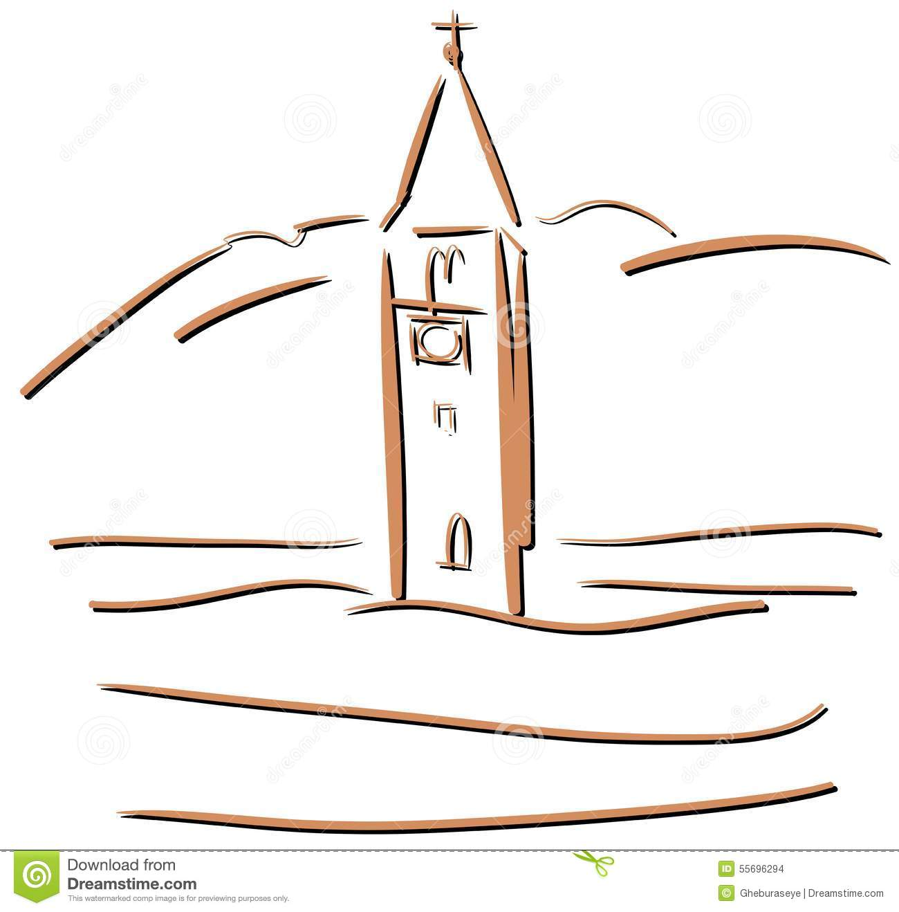 Church Tower Of Graun In The Reschensee Stock Vector.