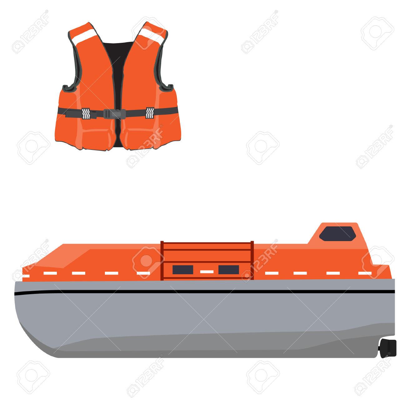 Vector Illustration Of Orange Life Boat And Life Jacket. Life.