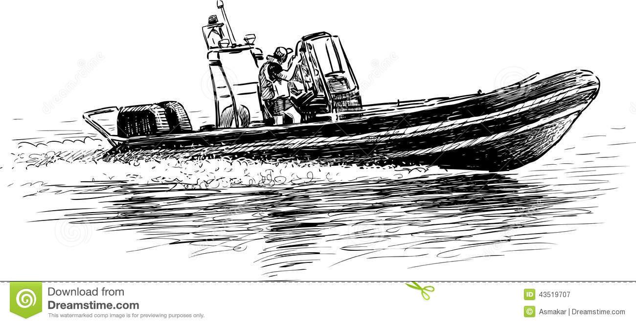 Rescue Boat Stock Vector.