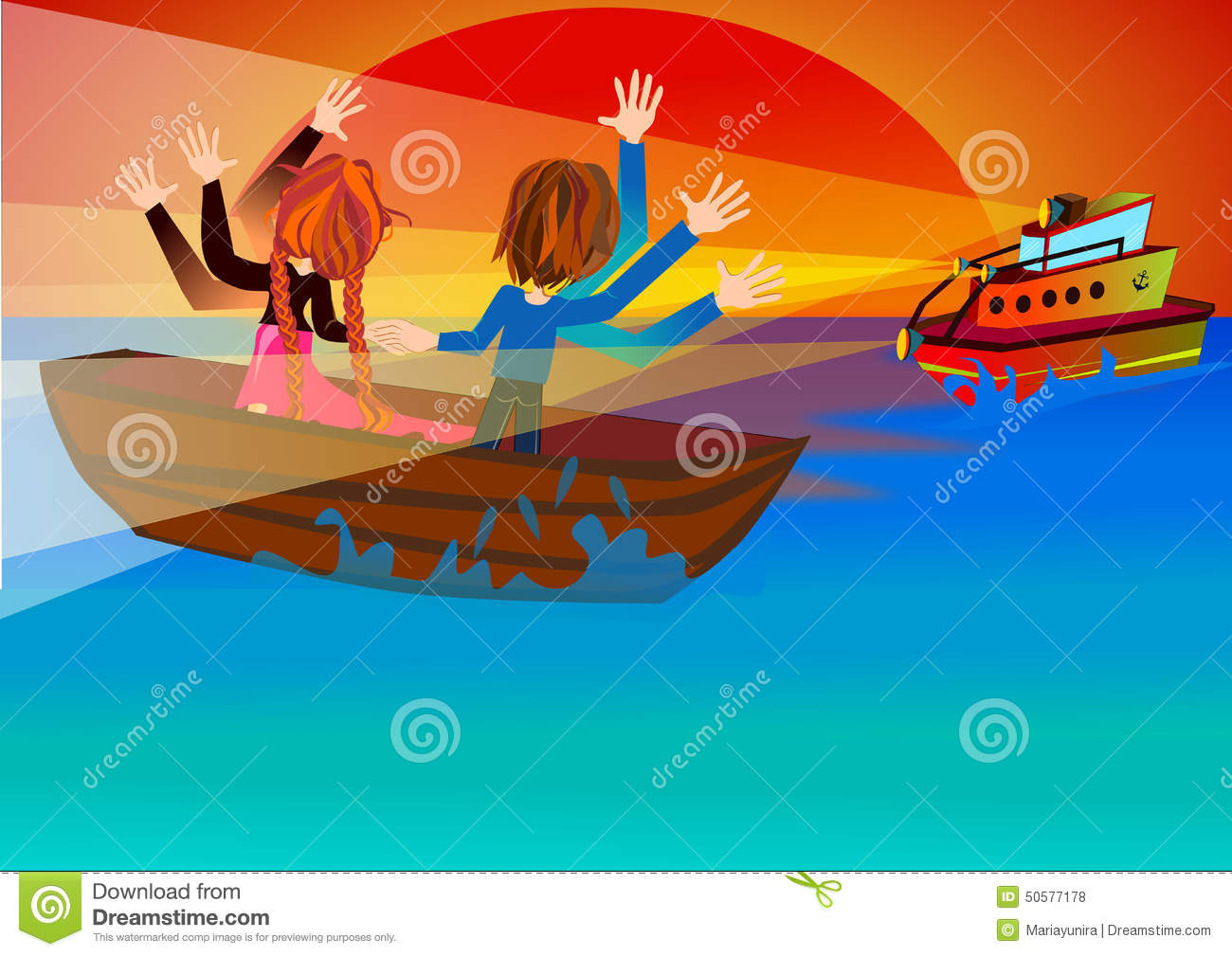 The Rescue Boat Is Coming Stock Illustration.