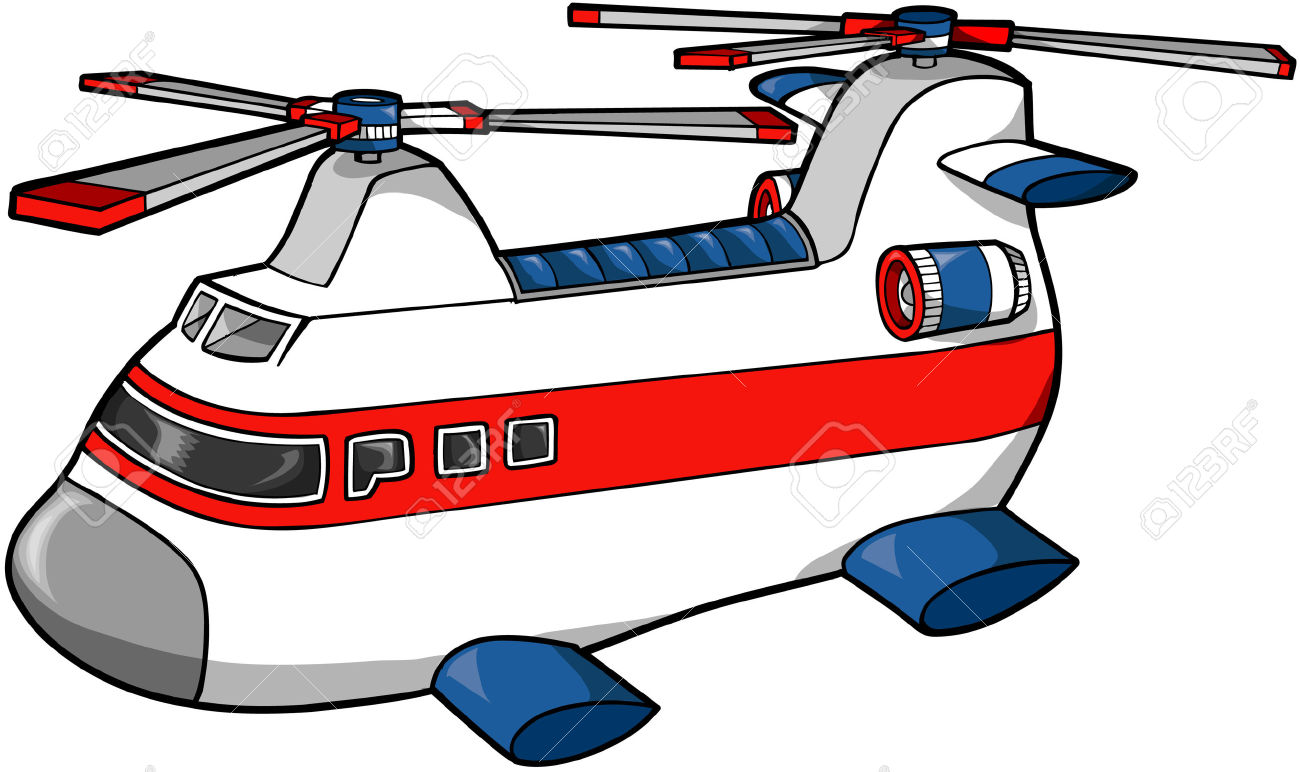 Rescue Helicopter Vector Illustration Royalty Free Cliparts.