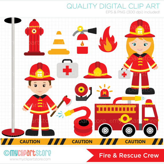 Clipart Fire and Rescue Crew / Boy and Girl Firefighters /.