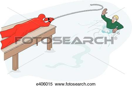 Stock Illustration of Ice rescue with pole hook e406015.