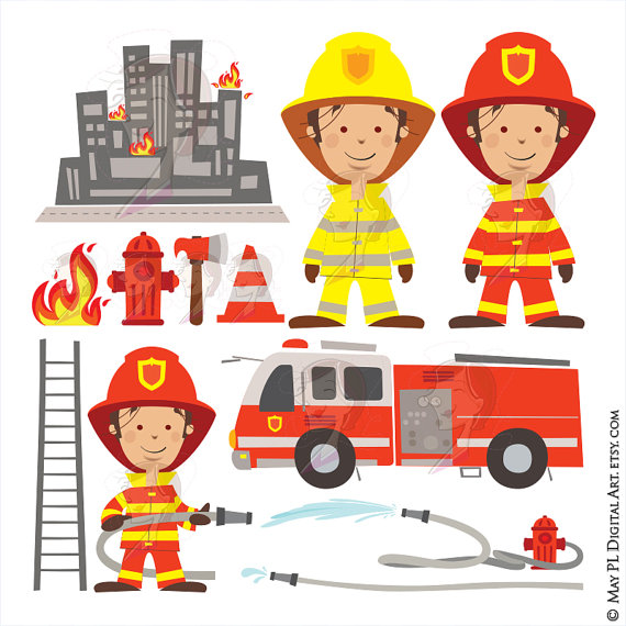 Firefighter Fireman Clipart Fire Truck Engine Rescue Clip Art.
