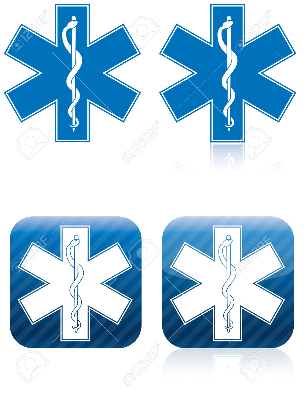 Emergency Medical And Rescue Symbol, Rod Of Asclepius Stock Photo.