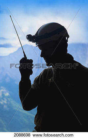 Pictures of Radio operator at a cave search and rescue; blairmore.