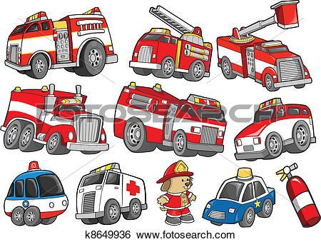 Clip Art of Rescue Vehicle Transportation set k8649936.