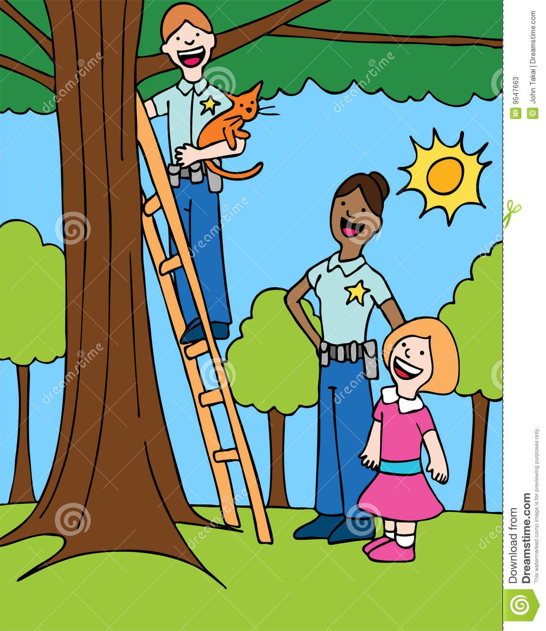 Rescue cat from a tree clipart.