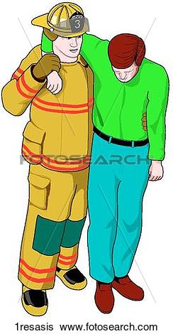 Stock Illustration of One Rescuer Assist 1resasis.