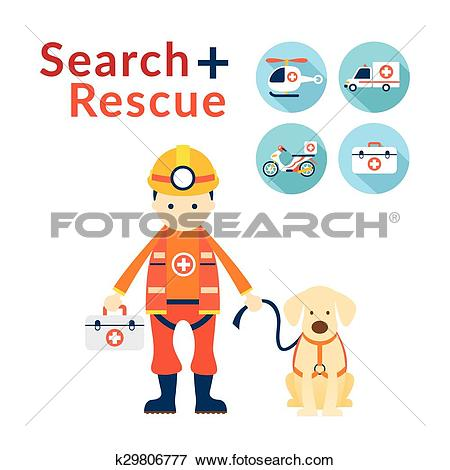 Clip Art of Rescuer with Dog, Search and Rescue Icons k29806777.