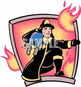 Art Image: A Fireman Rescuing a Child.