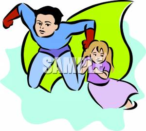 Free Clipart Image: A Young Superhero Rescuing a Small Girl.