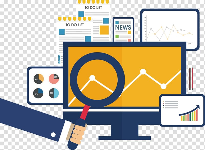 Marketing research Icon, Magnifying glass statistics table.