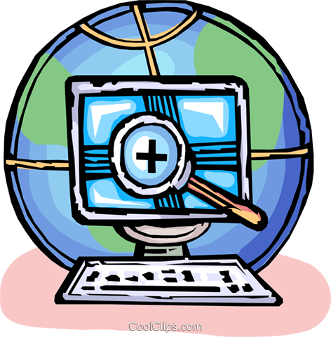 research into global communication Royalty Free Vector Clip Art.