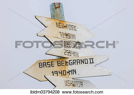 "Pictures of ""Distances, signpost at the Argentine research station."