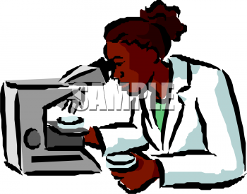 Clip Art Picture Of A Female Researcher Looking Into A.
