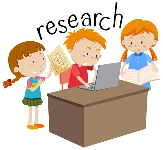 Kids doing research education flashcard.