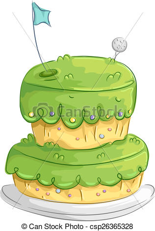 Clip Art of Golf Cake Design.