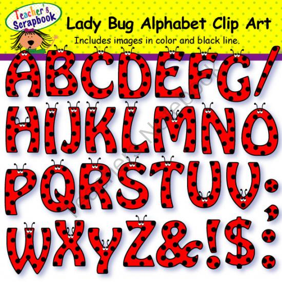 Ladybug Alphabet Clip Art from TeacherScrapbook on.