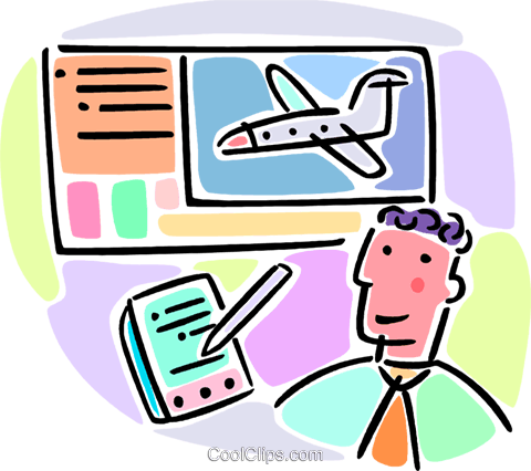 man booking flight reservations Royalty Free Vector Clip Art.