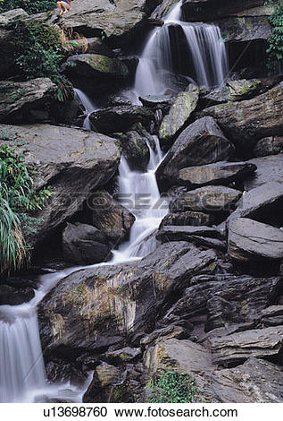Stock Photography of water, nature, rock, waterfall, cloud.