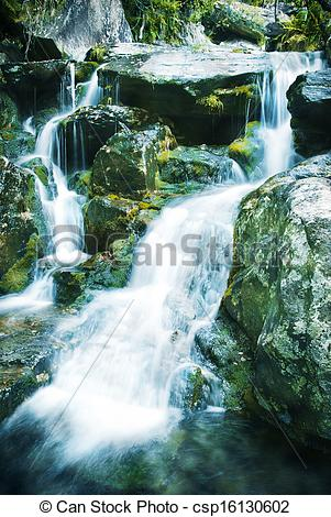 Stock Photography of torrent of water in the river coming down.