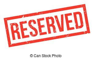 Reserved rubber stamp on white. print, impress, overprint..