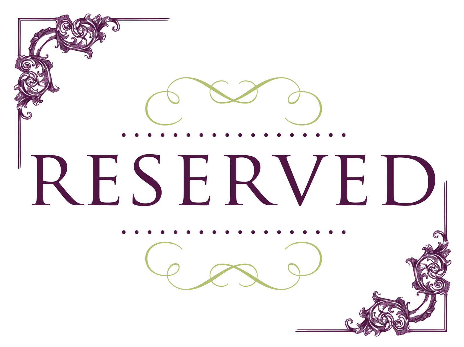 Free Clipart Reserved Sign.