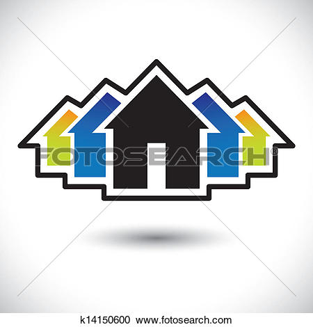 Clipart of House(home) & residence sign for real estate.