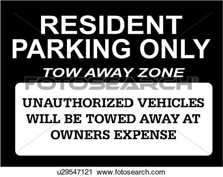 Clipart of , towed, business signs, lettering, parking.