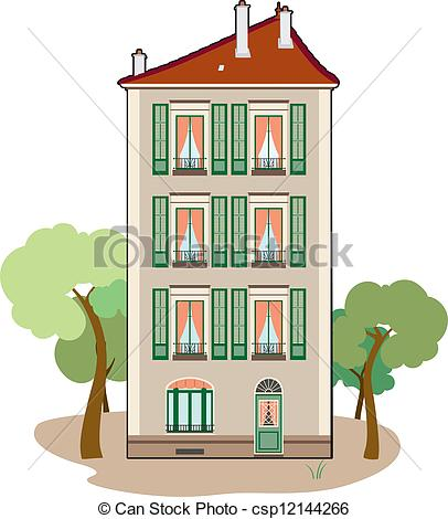 Residential building clipart.